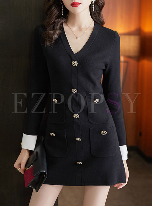 Long Sleeve Color-blocked Knitted Bodycon Dress