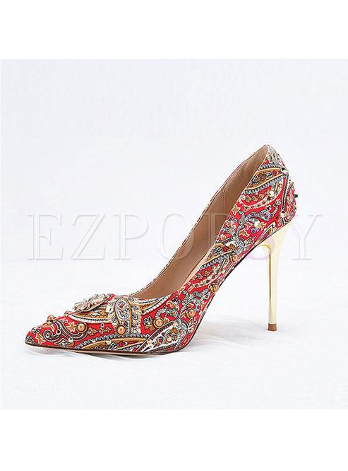 Red Pointed Toe Beaded Print Heels
