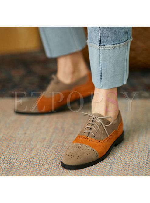 Rounded Toe Openwork Color-blocked Lace-up Shoes