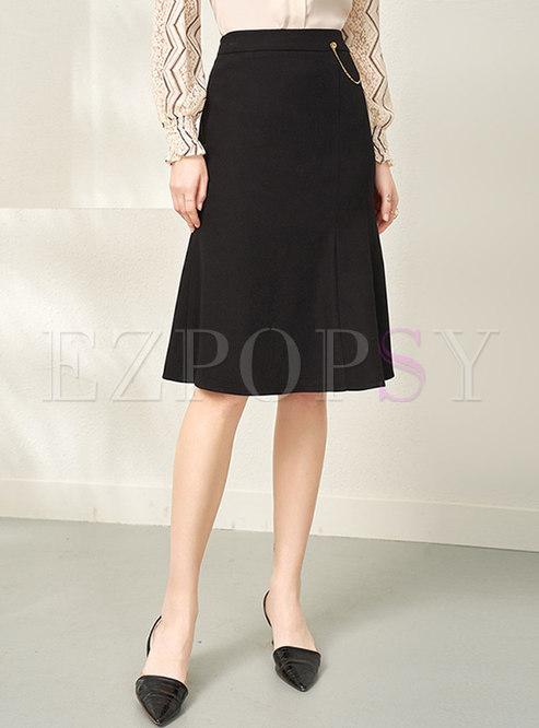 Black High Waisted Knee-length Peplum Skirt