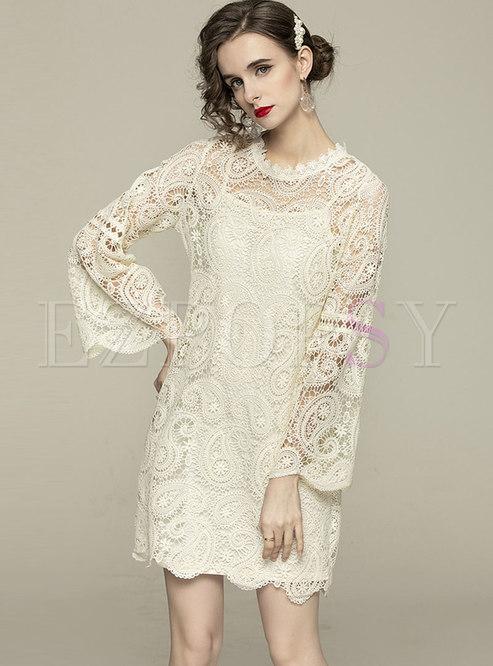 Flare Sleeve Lace Openwork Shift Mini Dress