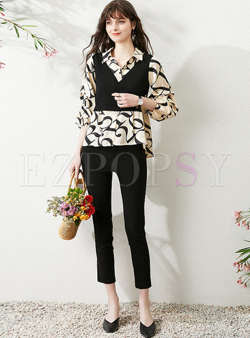 Print Patchwork High Waisted Harem Pant Suits