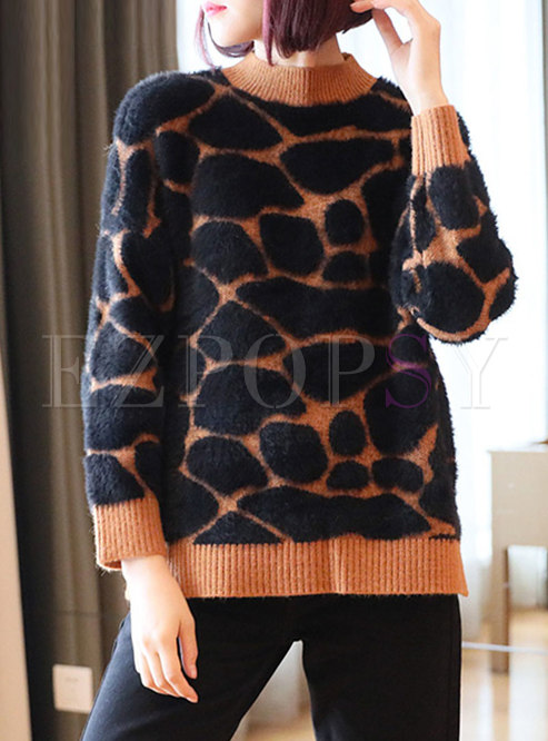 Color-blocked Leopard Pullover Loose Sweater