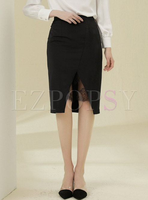 Black High Waisted Lace Patchwork Skirt