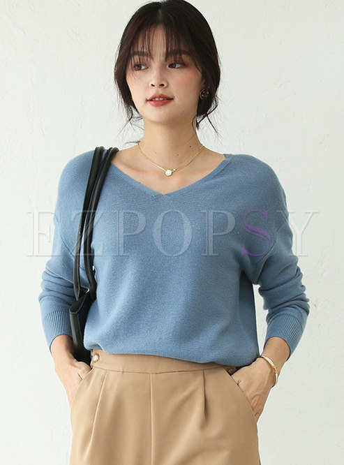 Solid V-neck Pullover Loose Sweater