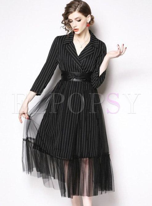 Striped Mesh Patchwork A Line Midi Dress