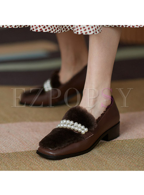 Square Toe Pearl Low Chunky Heel Loafers