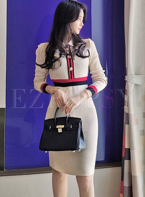 Color Block Long Sleeve Sheath Knitted Dress