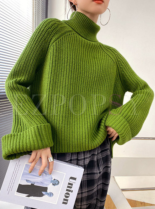 Turtleneck Pullover Ribbed Loose Sweater