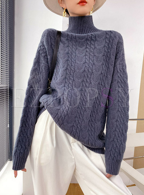 Turtleneck Pullover Loose Cable-knit Sweater