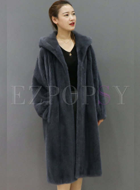 Hooded Solid Straight Long Faux Fur Coat