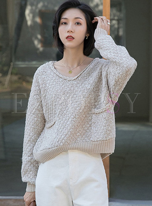 V-neck Pullover Loose Cable-knit Sweater
