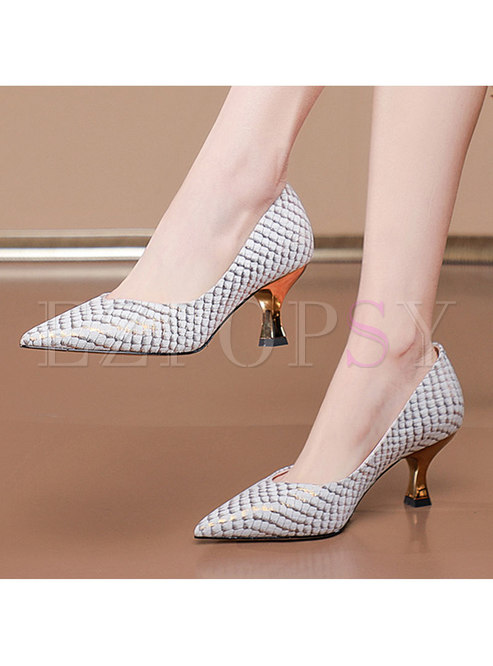 Pointed Toe Non-slip Low-fronted Heels