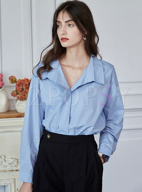 Solid Lapel Pullover Loose Blouse