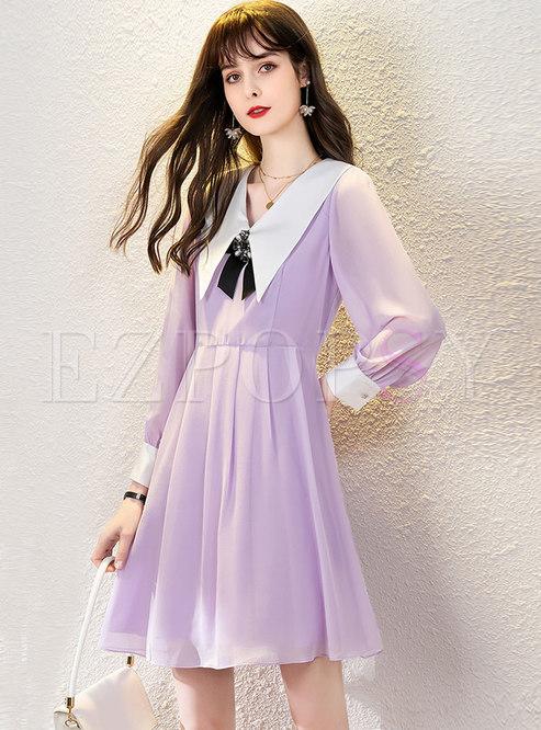 Color-blocked Long Sleeve Gathered Waist Skater Dress