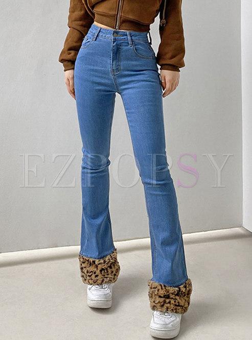 High Waisted Leopard Patchwork Denim Pants