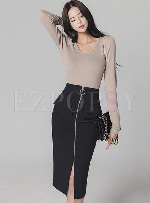 Pullover Back Openwork Sheath Skirt Suits