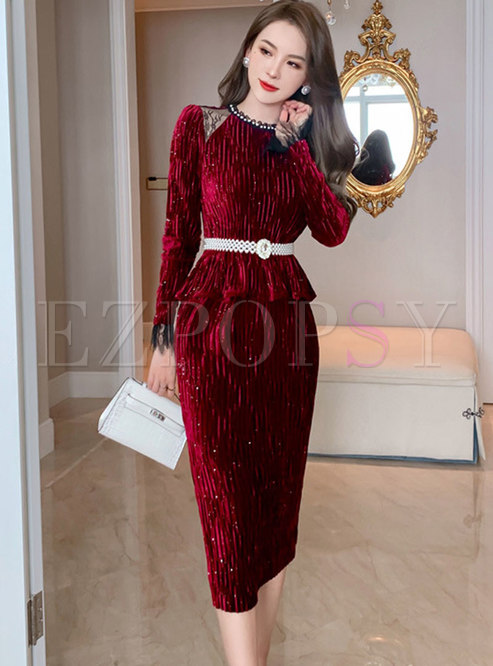 Mesh Patchwork Velvet Split Bodycon Skirt Suits