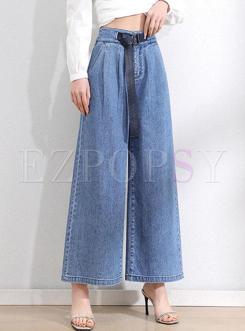 High Waisted Wide Leg Denim Pants