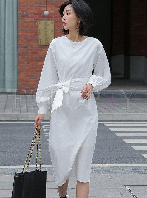 Lantern Sleeve Bowknot Sheath Midi Dress