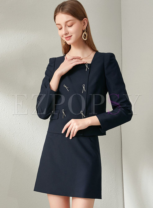 Brief Square Neck Bowknot Mini Skirt Suits