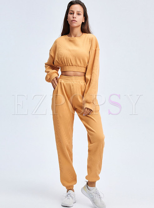Casual Pullover High Waisted Fitness Tracksuit