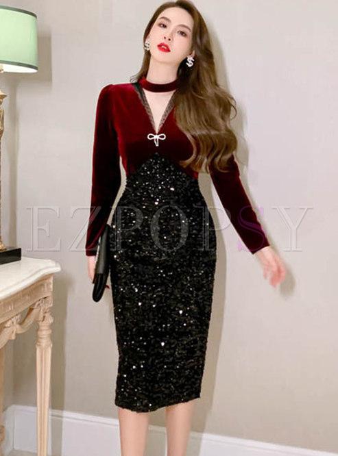 V-neck Velvet Patchwork Sequin Bodycon Dress