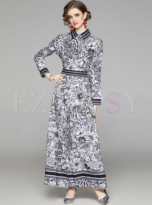 Retro Long Sleeve Print Big Hem Maxi Dress