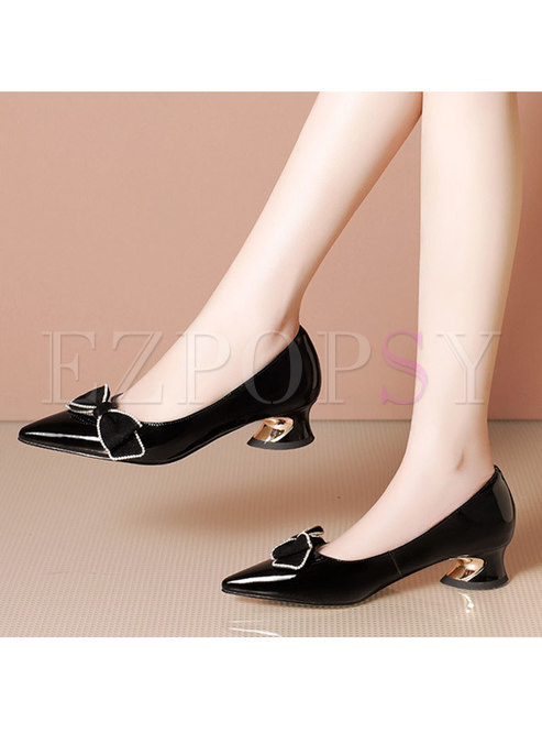 Pointed Toe Bowknot Block Heel Shoes