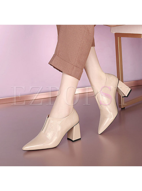Pointed Toe Solid Chunky Heel Shoes