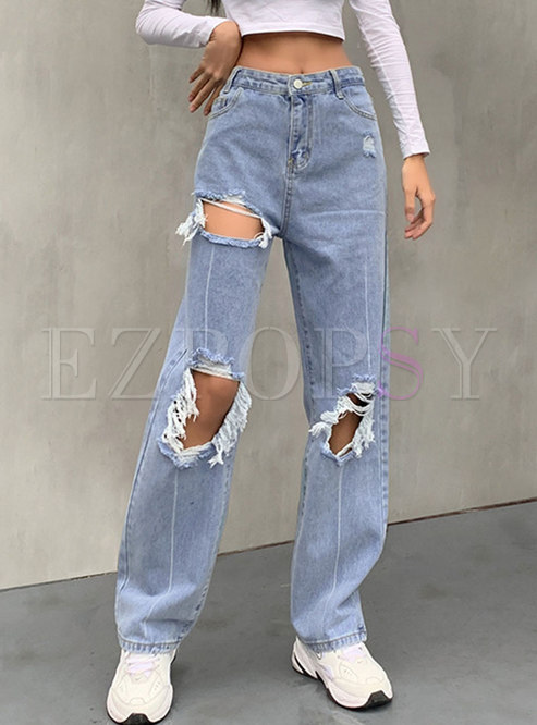High Waisted Ripped Straight Denim Pants
