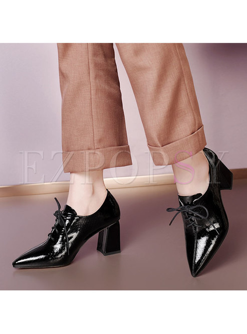 Pointed Toe Lace-up Chunky Heel Shoes