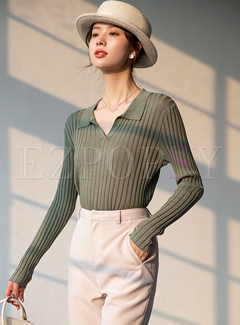 Solid V-neck Ribbed Pullover Slim Sweater