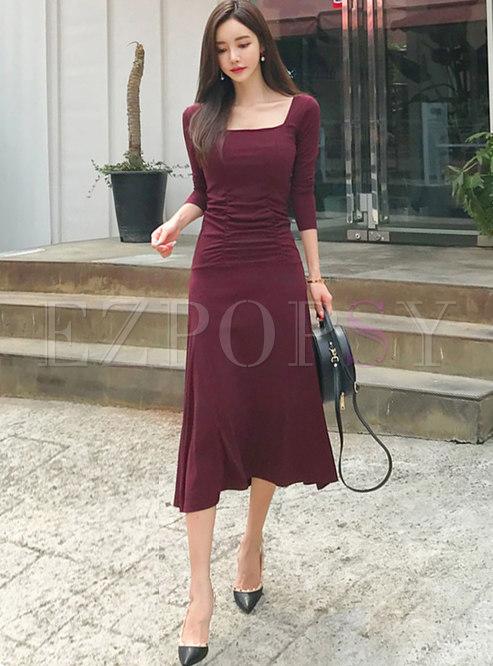 Square Neck Long Sleeve Ruched Big Hem Dress