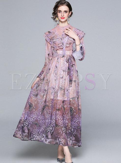 Mock Neck Ruffle Print Chiffon Maxi Dress