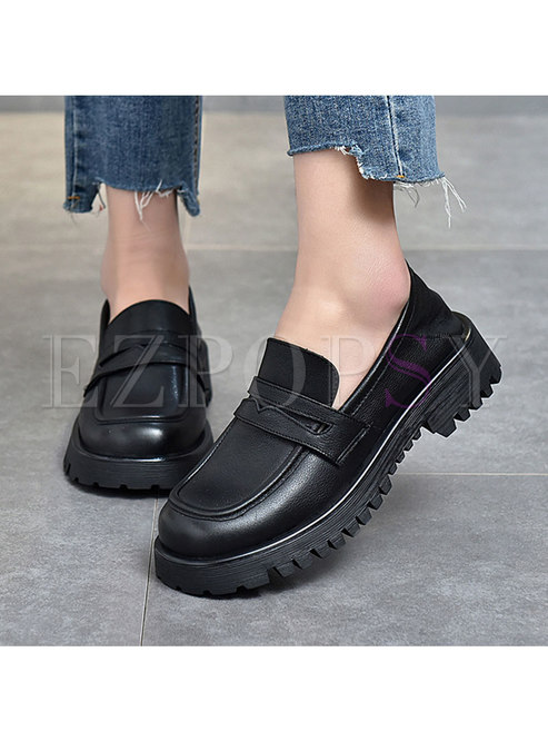 Rounded Toe Platform Non-slip Loafers