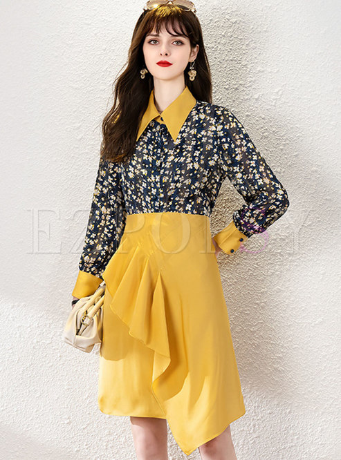 Color-blocked Print Ruffle A Line Skirt Suits