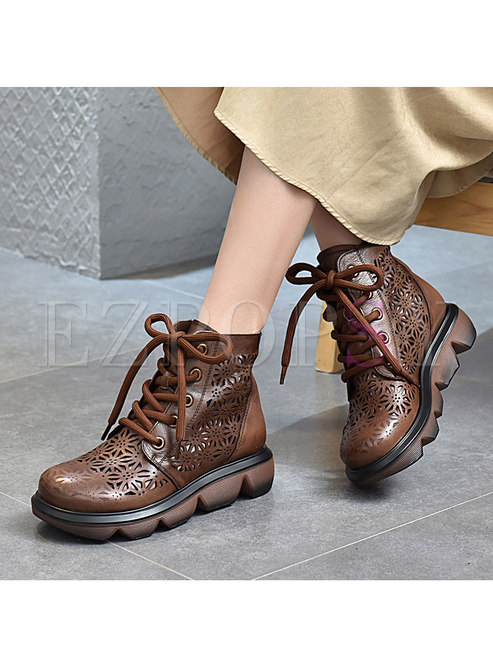 Rounded Toe Lace-up Platform Ankle Boots