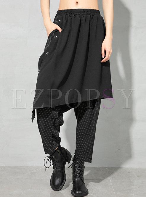High Waisted Stripe Patchwork Harem Pants