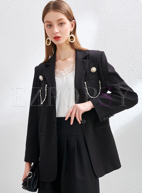 Black Notched Long Sleeve Beaded Straight Blazer