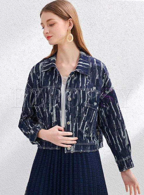 Turn Down Collar Straight Denim Jacket