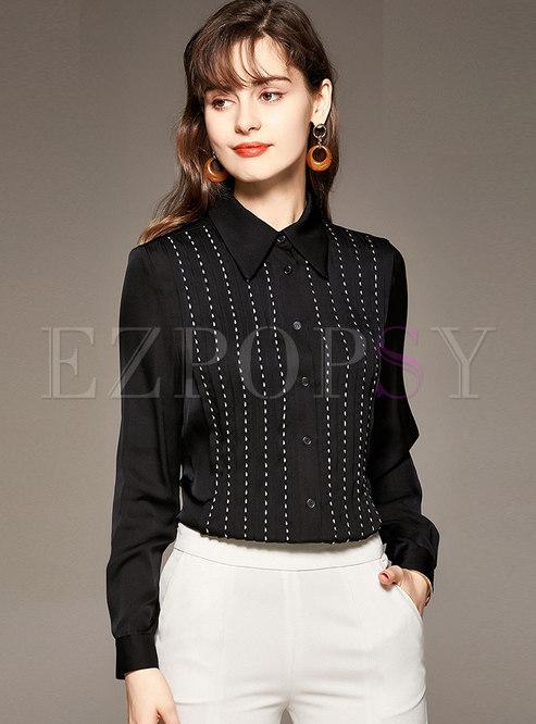Black Long Sleeve Silk Ruched Shirt