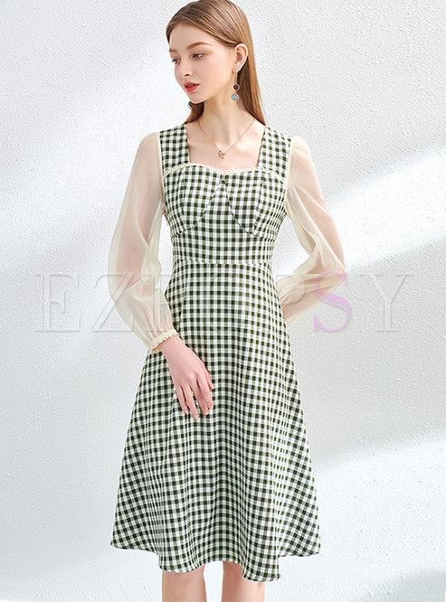 Square Neck Plaid Patchwork A Line Dress