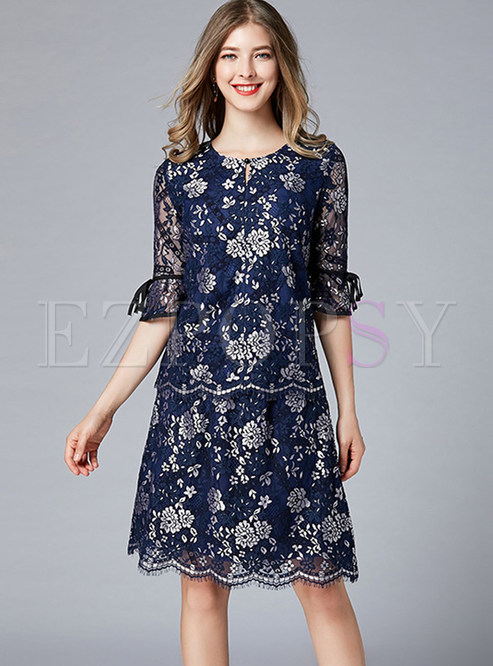 Print O-neck Half Sleeve Lace Two Piece Outfits