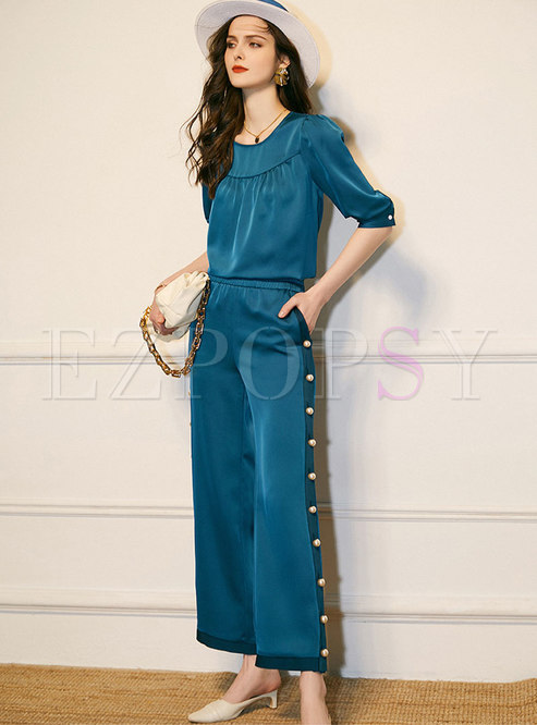 Solid Satin Pearl Wide Leg Pant Suits