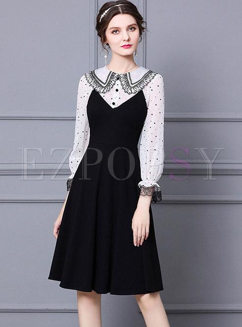 Lapel Color-blocked Polka Dot Lace Skater Dress