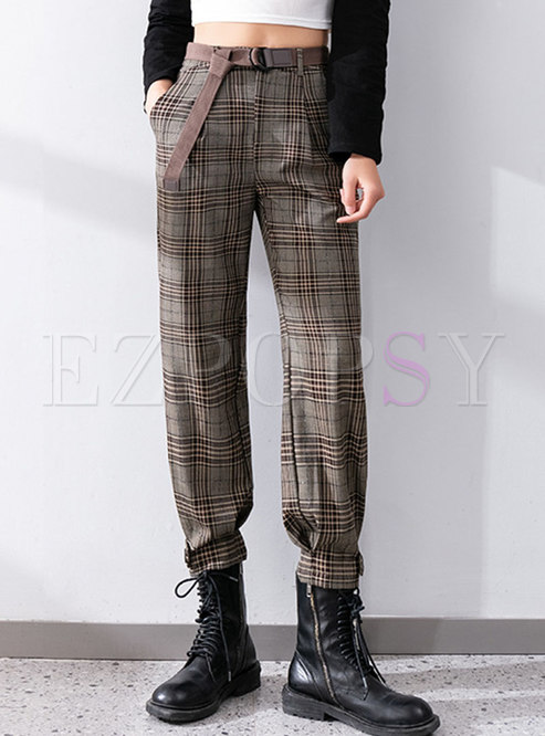 High Waisted Plaid Casual Ankle-tied Pants