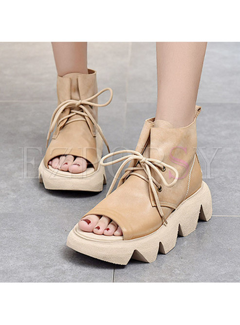 Casual Open Toe Lace-up Platform Ankle Boots