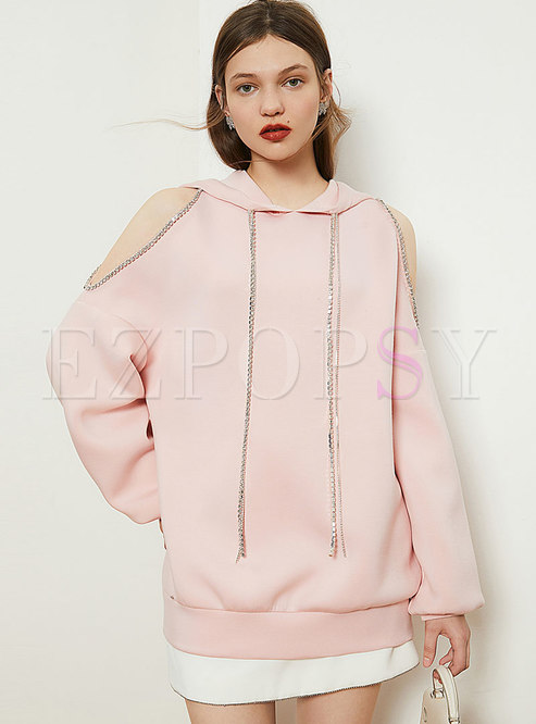 Cold Shoulder Diamond Pullover Hoodie