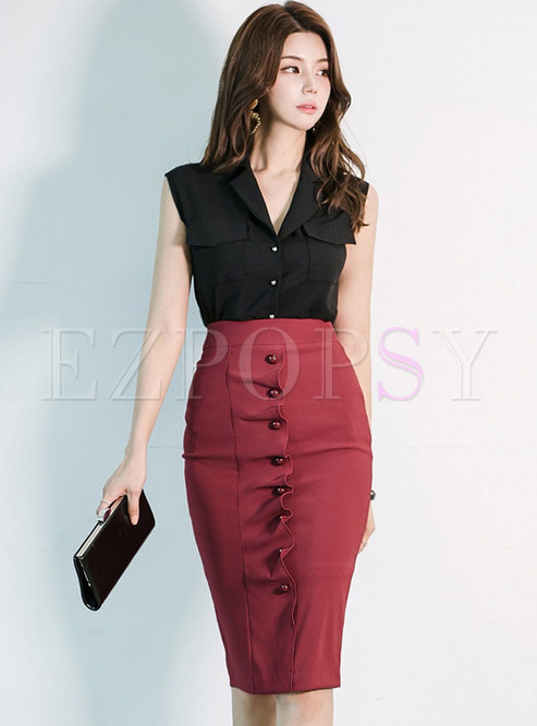 Notched Sleeveless High Waisted Bodycon Skirt Suit